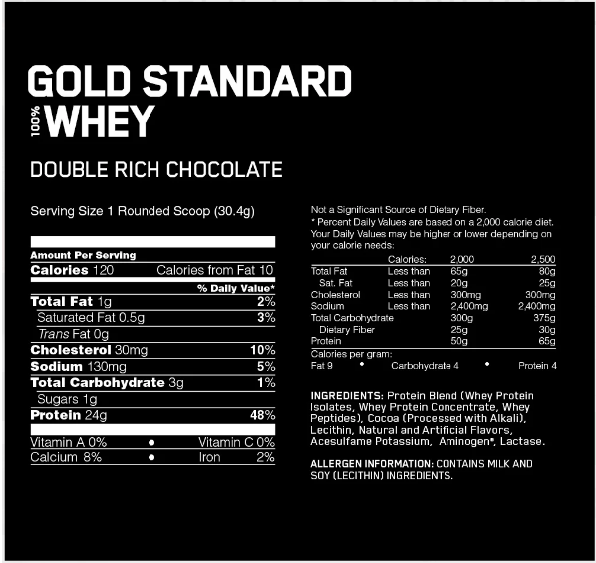 Optimum nutrition chart for double chocolate